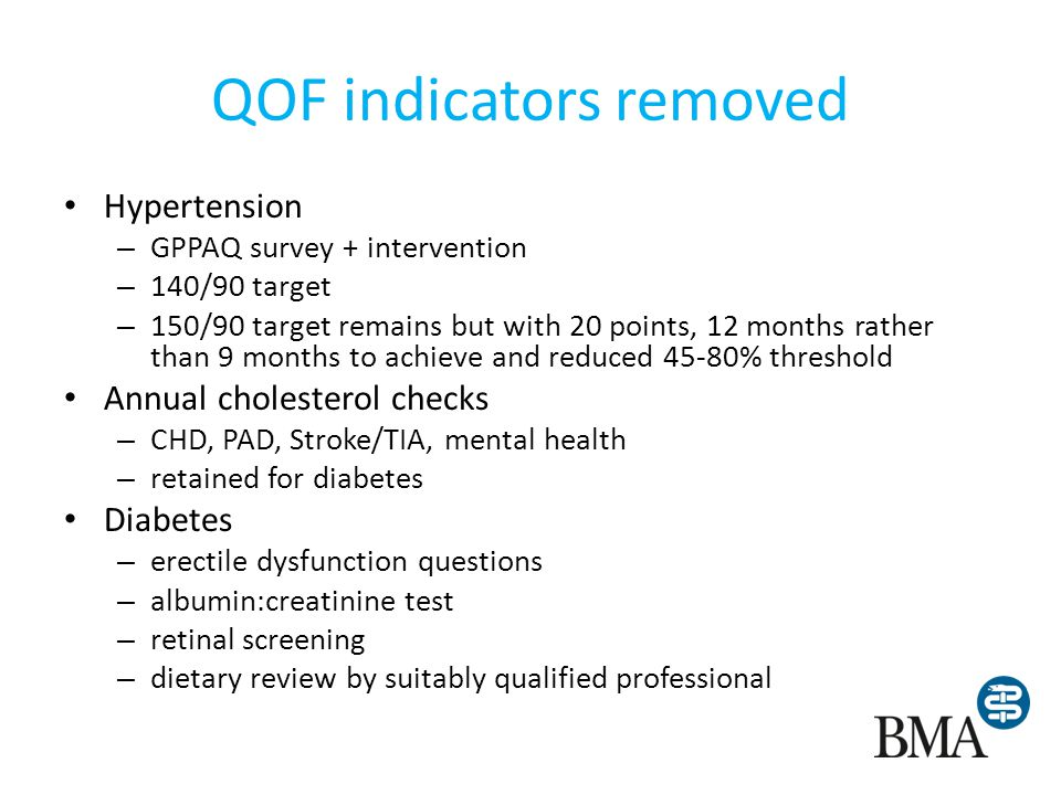QOF indicators removed (2) AF - % with CHAD score (but treatment remains) Thyroid disease – whole domain removed Depression – Bio-psychosocial assessment removed – Depression review timeframe increased to 2-8 weeks Mental health – HDL/cholesterol and glucose annual checks – BMI LD – record of TSH check