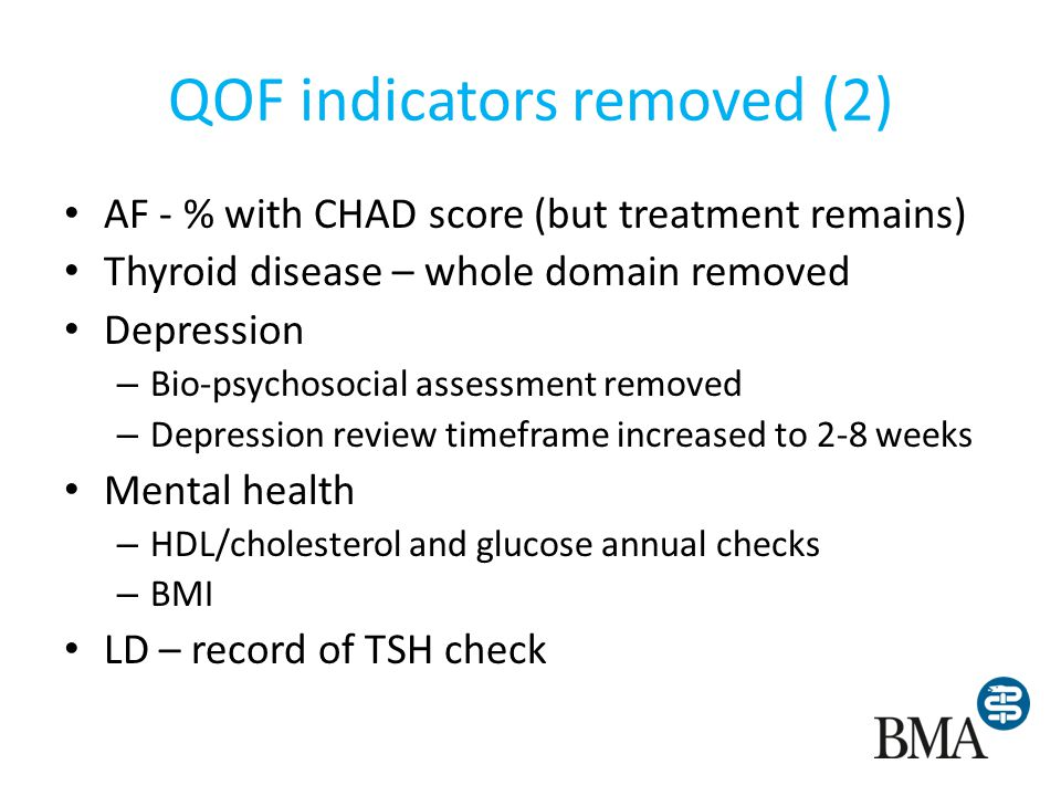 QOF indicators removed (2) AF - % with CHAD score (but treatment remains) Thyroid disease – whole domain removed Depression – Bio-psychosocial assessm