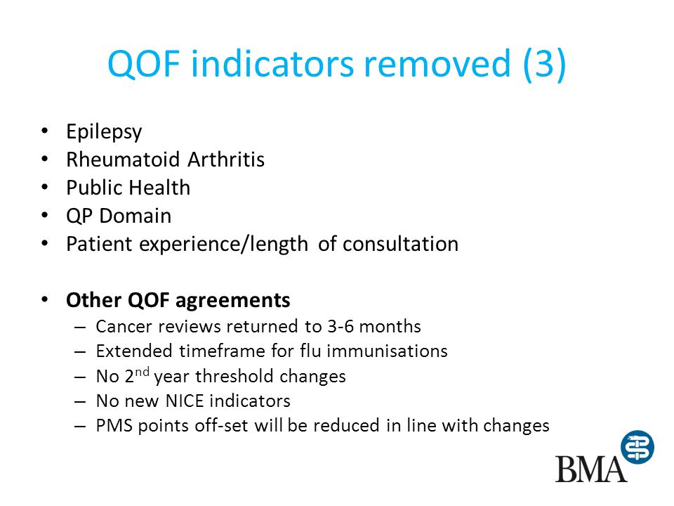 QOF indicators removed (3) Epilepsy Rheumatoid Arthritis Public Health QP Domain Patient experience/length of consultation Other QOF agreements – Canc