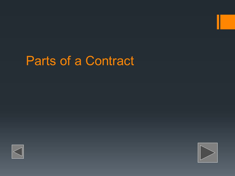 Parts of a Contract