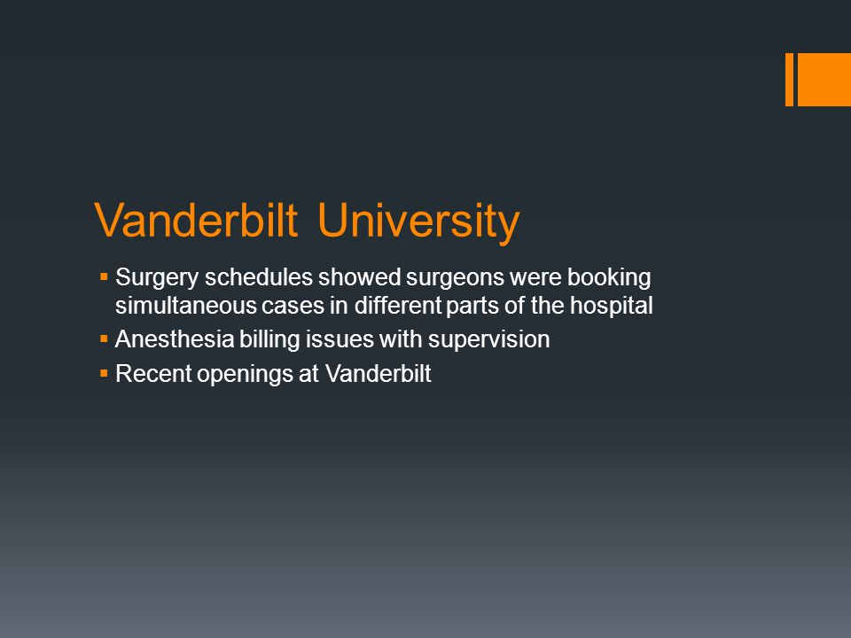 Vanderbilt University Surgery schedules showed surgeons were booking simultaneous cases in different parts of the hospital Anesthesia billing issues w