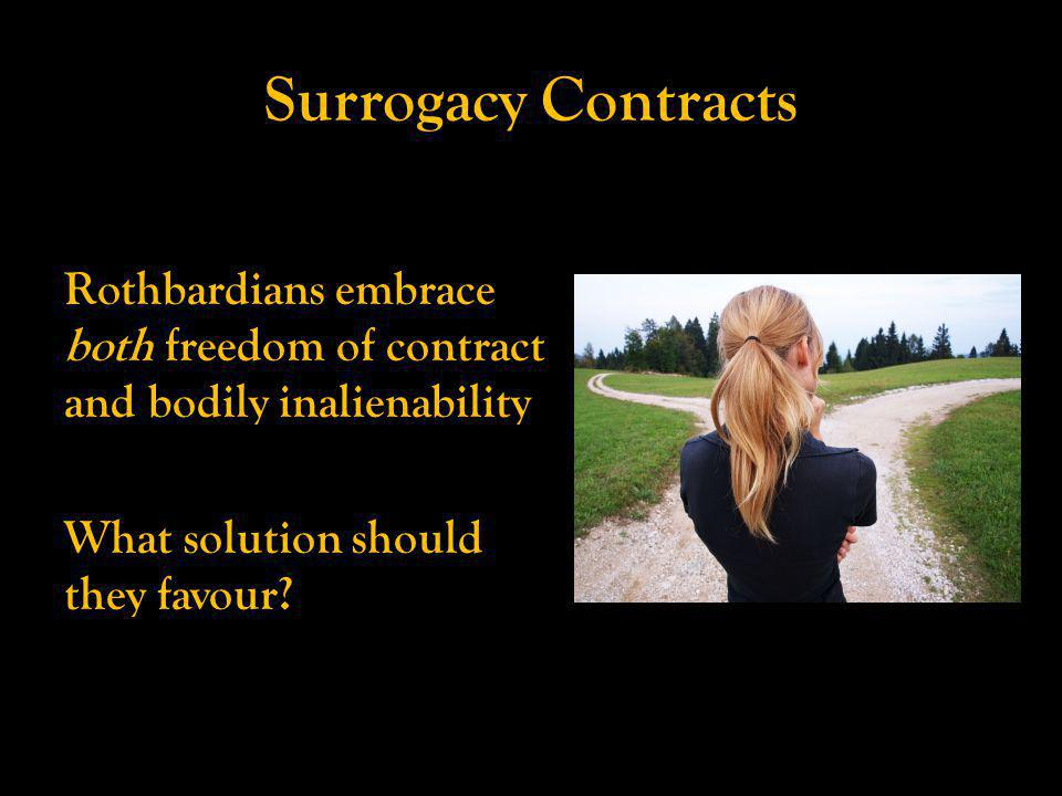 Surrogacy Contracts Rothbardians embrace both freedom of contract and bodily inalienability What solution should they favour?