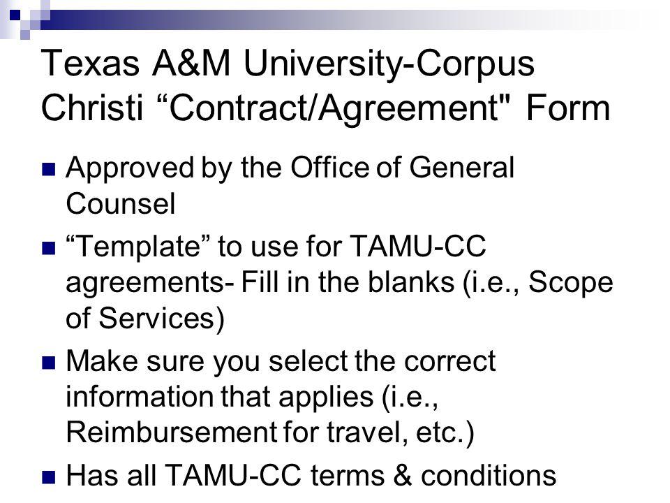 Texas A&M University-Corpus Christi Contract/Agreement