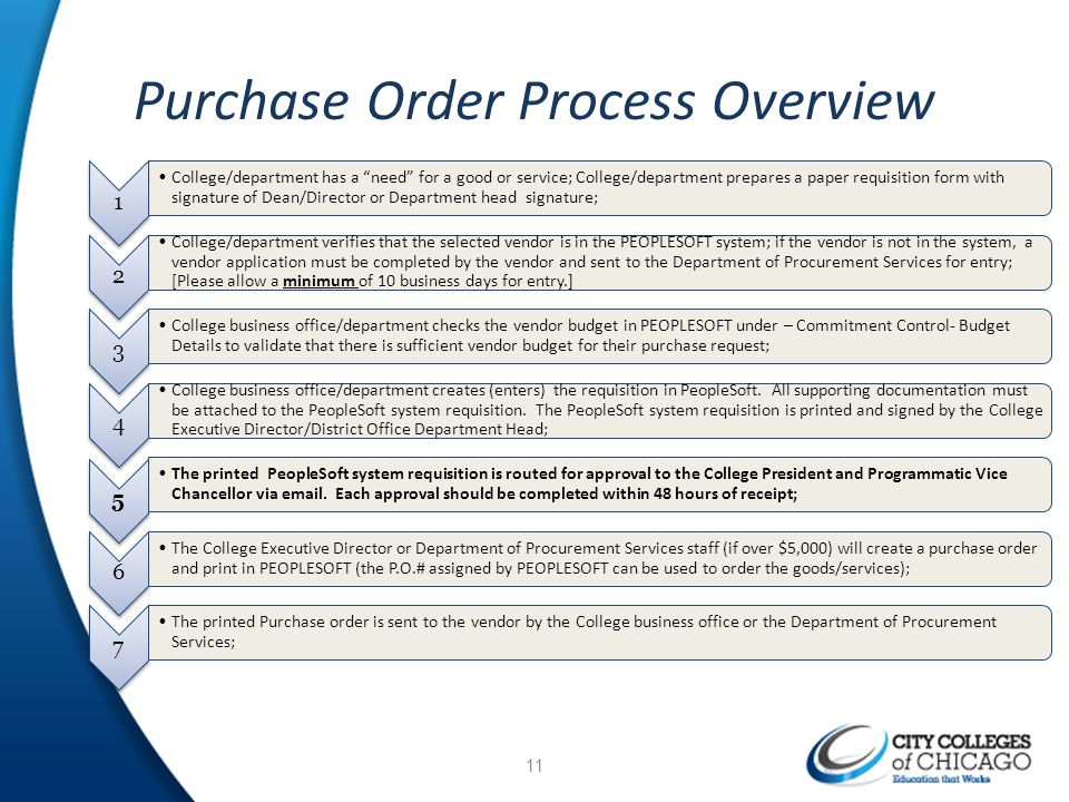 Purchase Order Process Overview 1 College/department has a need for a good or service; College/department prepares a paper requisition form with signa