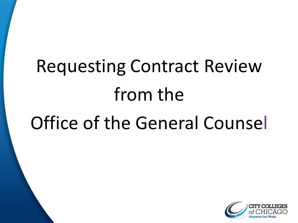 Requesting Contract Review from the Office of the General Counsel
