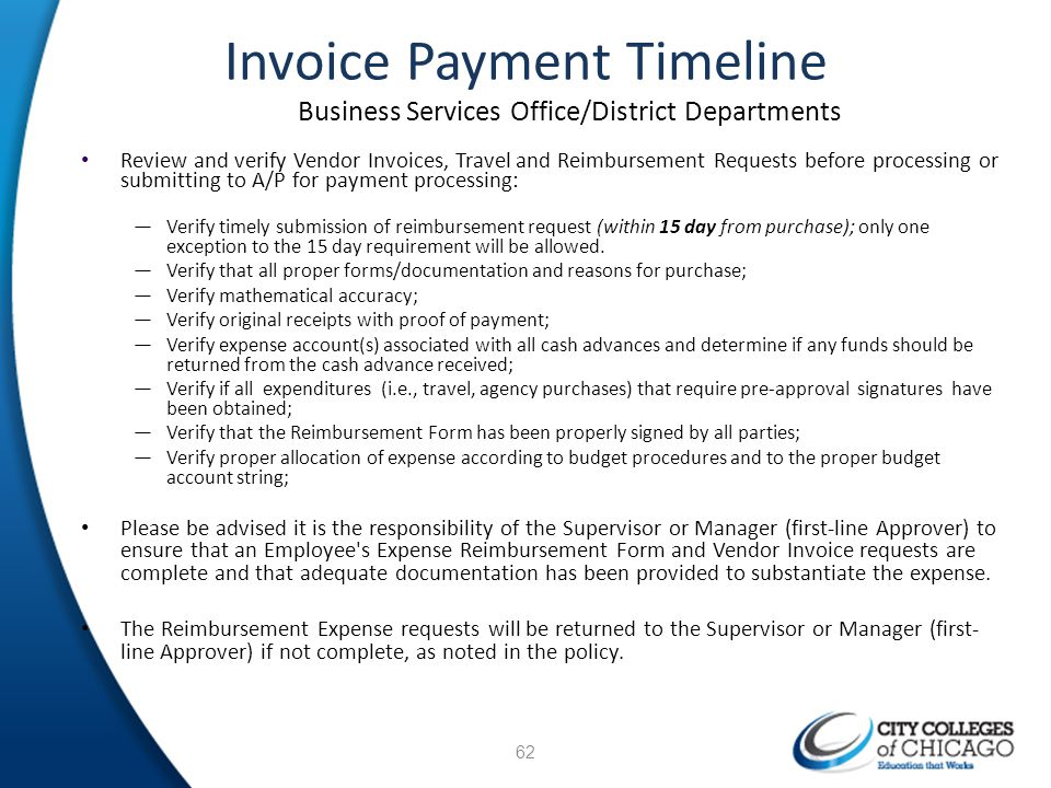 Invoice Payment Timeline Business Services Office/District Departments Review and verify Vendor Invoices, Travel and Reimbursement Requests before pro