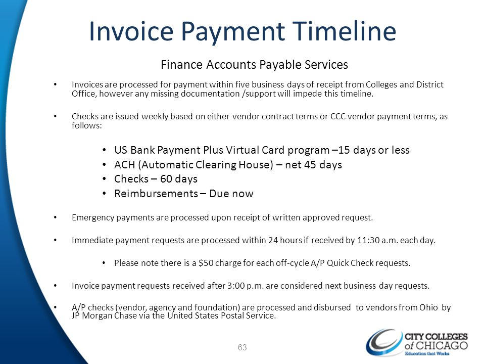 Invoice Payment Timeline Finance Accounts Payable Services Invoices are processed for payment within five business days of receipt from Colleges and D