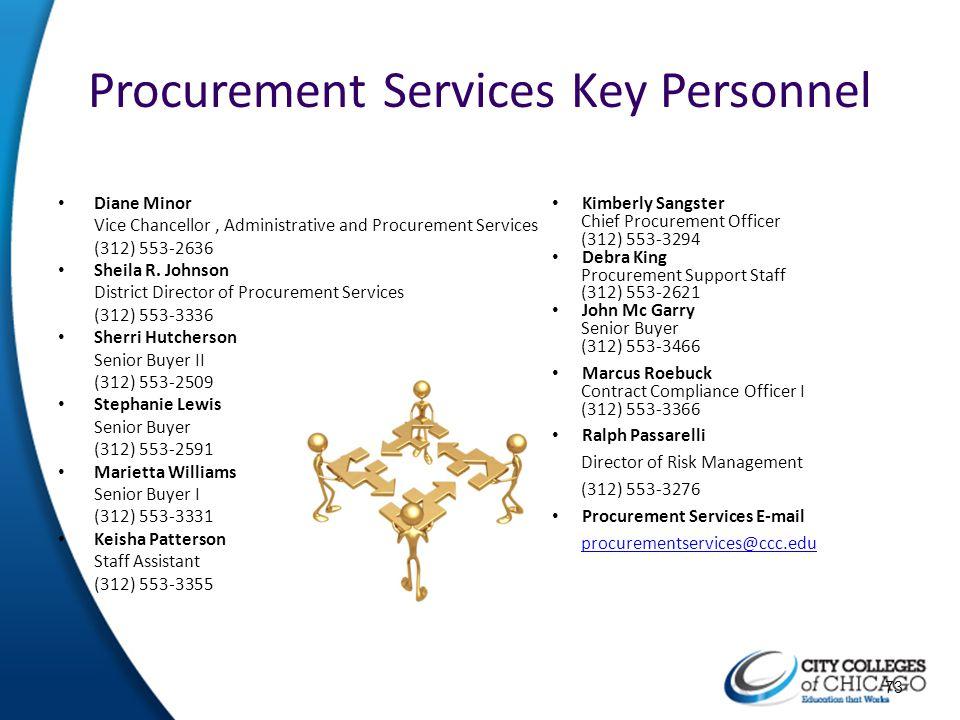 Procurement Services Key Personnel Diane Minor Vice Chancellor, Administrative and Procurement Services (312) 553-2636 Sheila R. Johnson District Dire