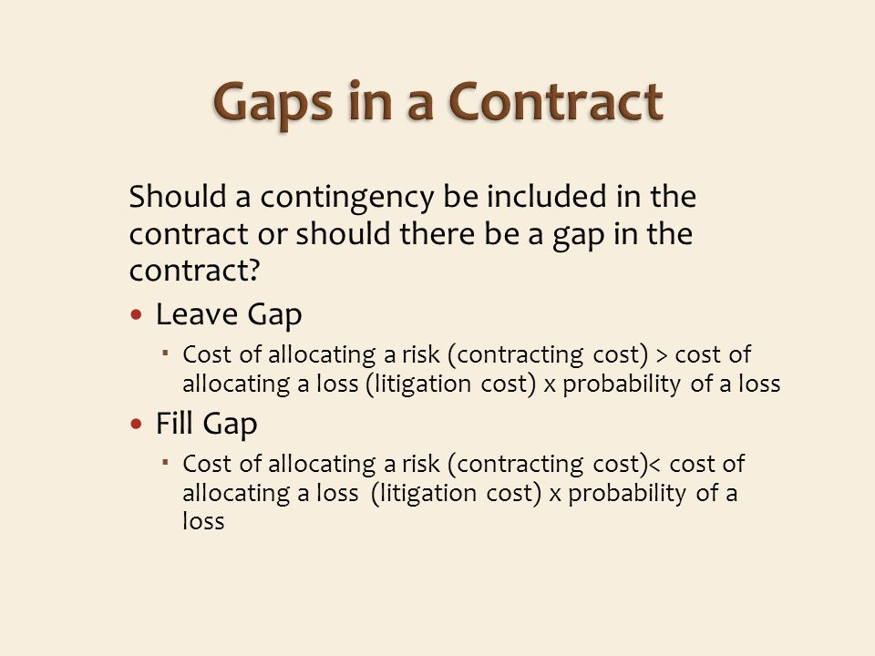 Should a contingency be included in the contract or should there be a gap in the contract.
