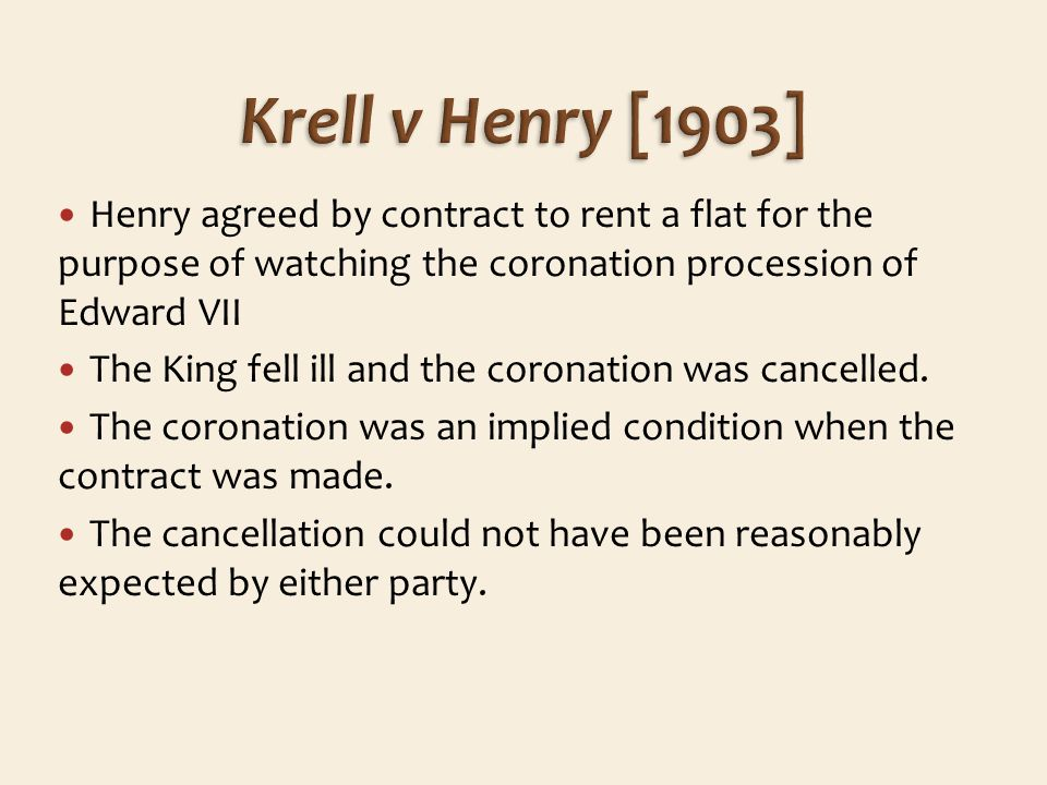 Henry agreed by contract to rent a flat for the purpose of watching the coronation procession of Edward VII The King fell ill and the coronation was cancelled.