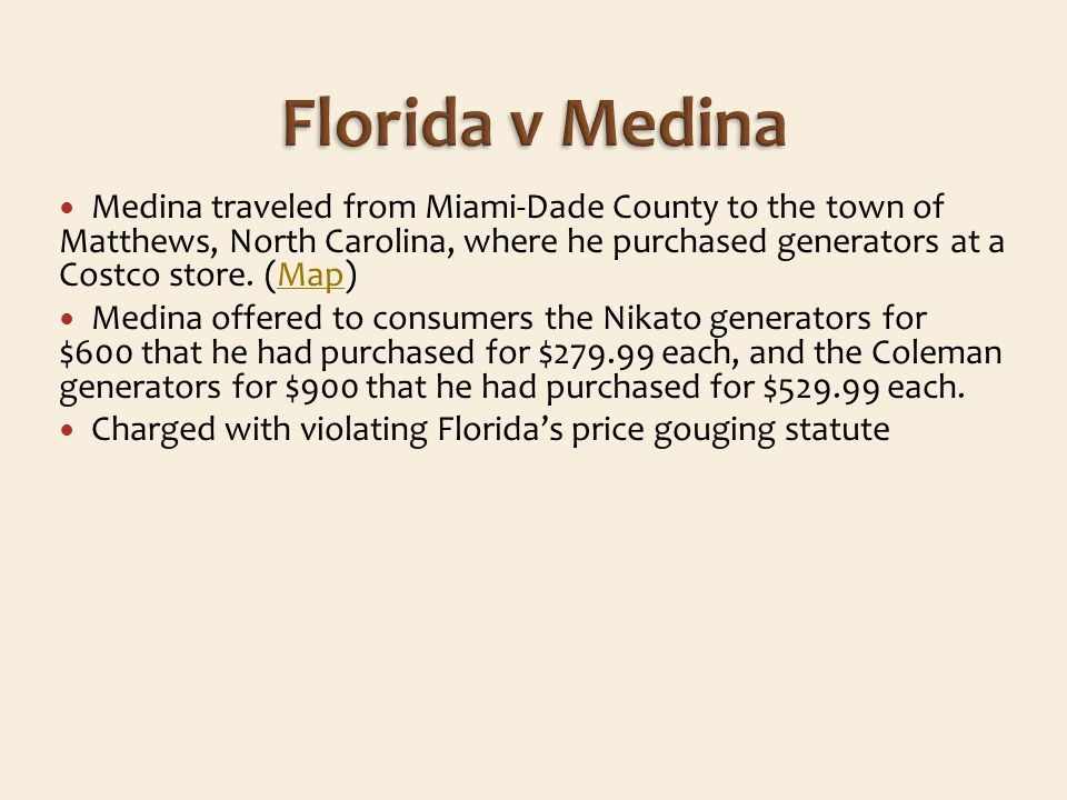 Medina traveled from Miami-Dade County to the town of Matthews, North Carolina, where he purchased generators at a Costco store.