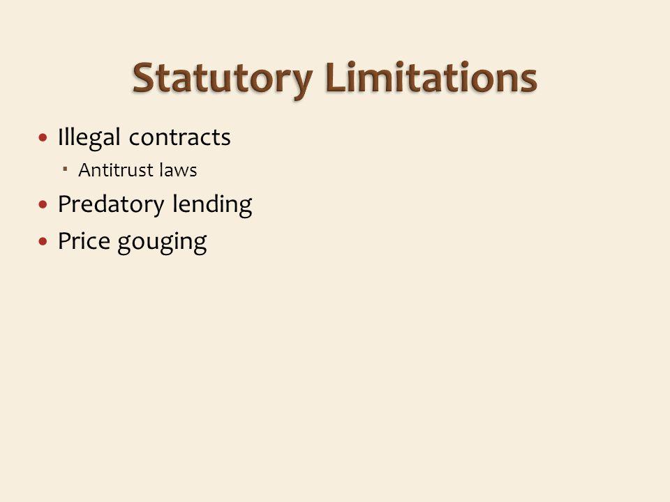 Illegal contracts Antitrust laws Predatory lending Price gouging
