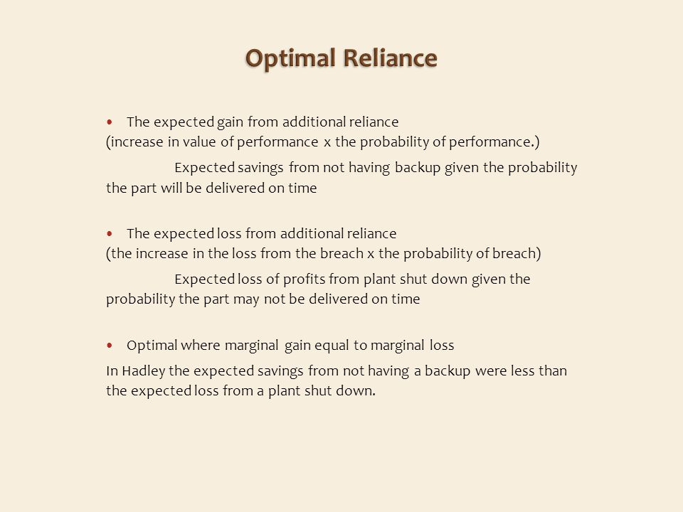 The expected gain from additional reliance (increase in value of performance x the probability of performance.) Expected savings from not having backup given the probability the part will be delivered on time The expected loss from additional reliance (the increase in the loss from the breach x the probability of breach) Expected loss of profits from plant shut down given the probability the part may not be delivered on time Optimal where marginal gain equal to marginal loss In Hadley the expected savings from not having a backup were less than the expected loss from a plant shut down.