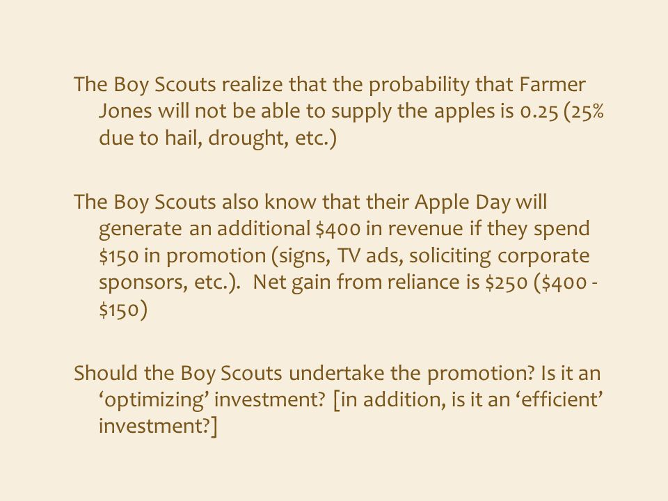 The Boy Scouts realize that the probability that Farmer Jones will not be able to supply the apples is 0.25 (25% due to hail, drought, etc.) The Boy Scouts also know that their Apple Day will generate an additional $400 in revenue if they spend $150 in promotion (signs, TV ads, soliciting corporate sponsors, etc.).