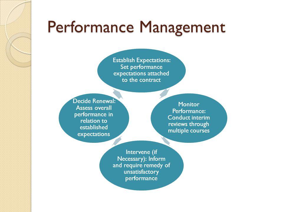 Performance Management Establish Expectations: Set performance expectations attached to the contract Monitor Performance: Conduct interim reviews thro