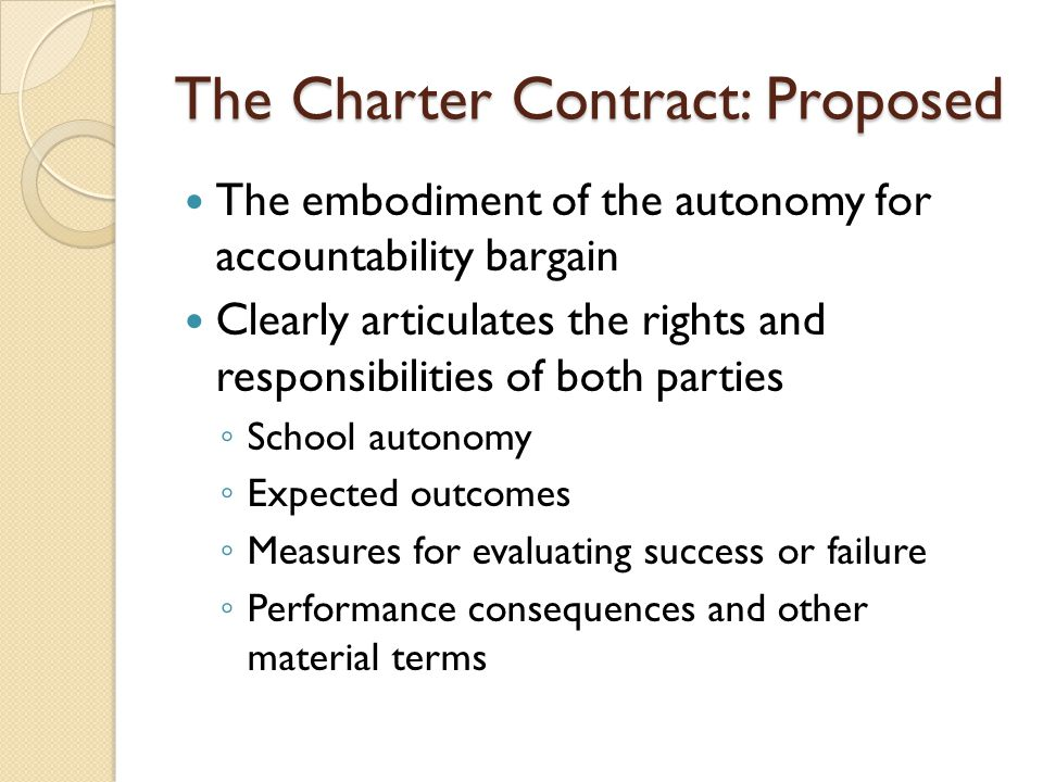 The Charter Contract: Proposed The embodiment of the autonomy for accountability bargain Clearly articulates the rights and responsibilities of both parties School autonomy Expected outcomes Measures for evaluating success or failure Performance consequences and other material terms