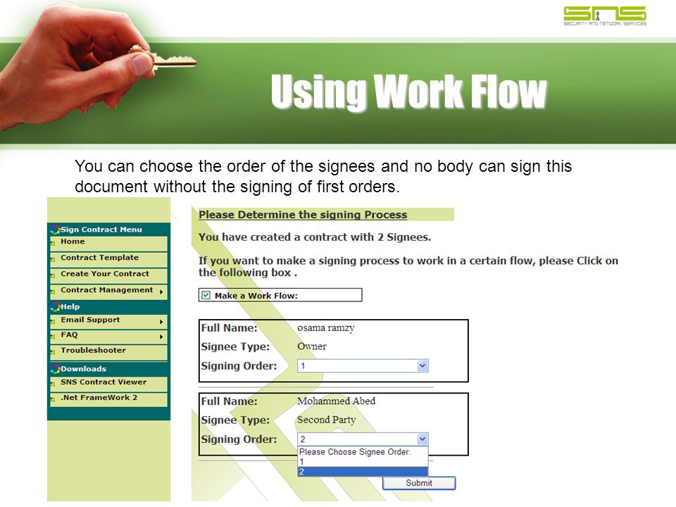 Using Work Flow You can choose the order of the signees and no body can sign this document without the signing of first orders.