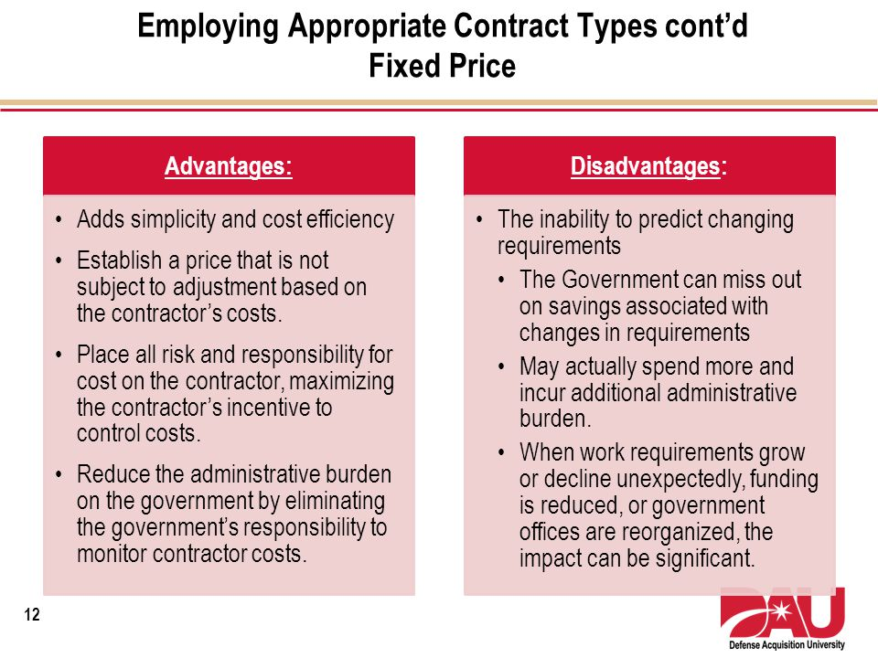 Employing Appropriate Contract Types contd Fixed Price Advantages: Adds simplicity and cost efficiency Establish a price that is not subject to adjust
