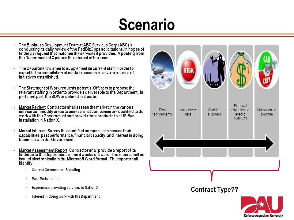 Scenario The Business Development Team at ABC Services Corp (ABC) is conducting its daily review of the FedBizOpps solicitations, in hopes of finding
