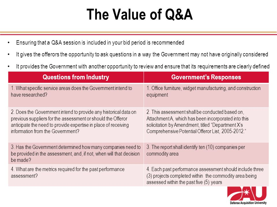 The Value of Q&A Questions from IndustryGovernments Responses 1. What specific service areas does the Government intend to have researched? 1. Office