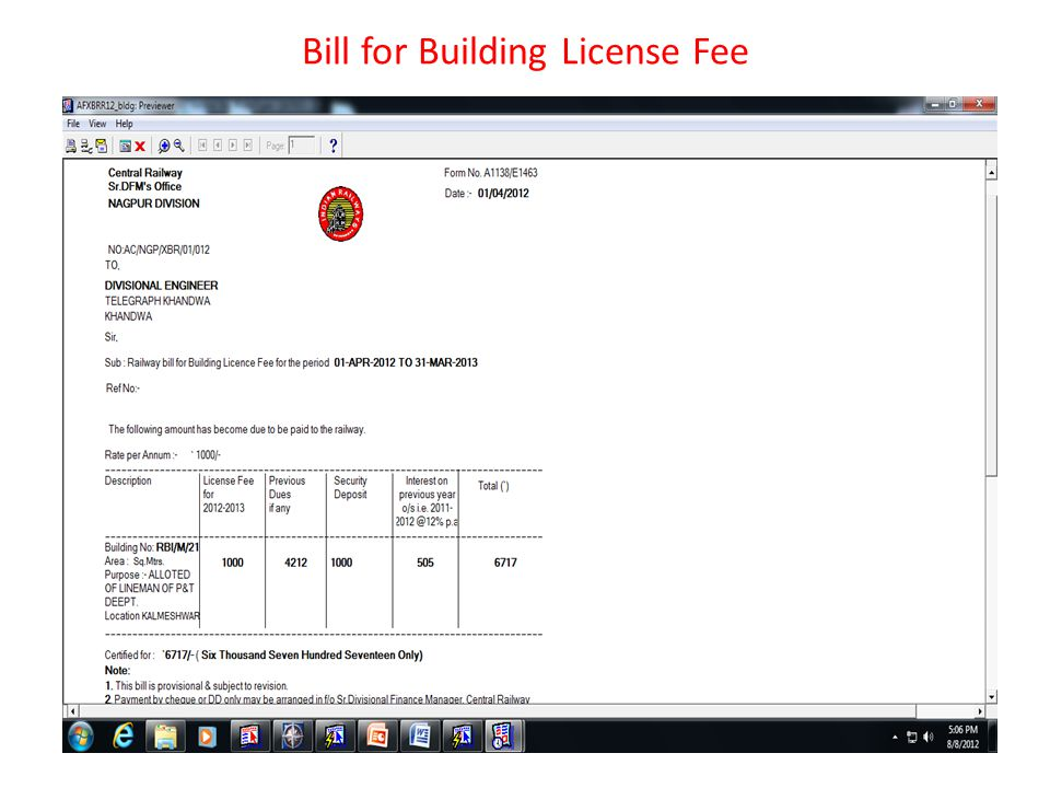 Bill for Building License Fee