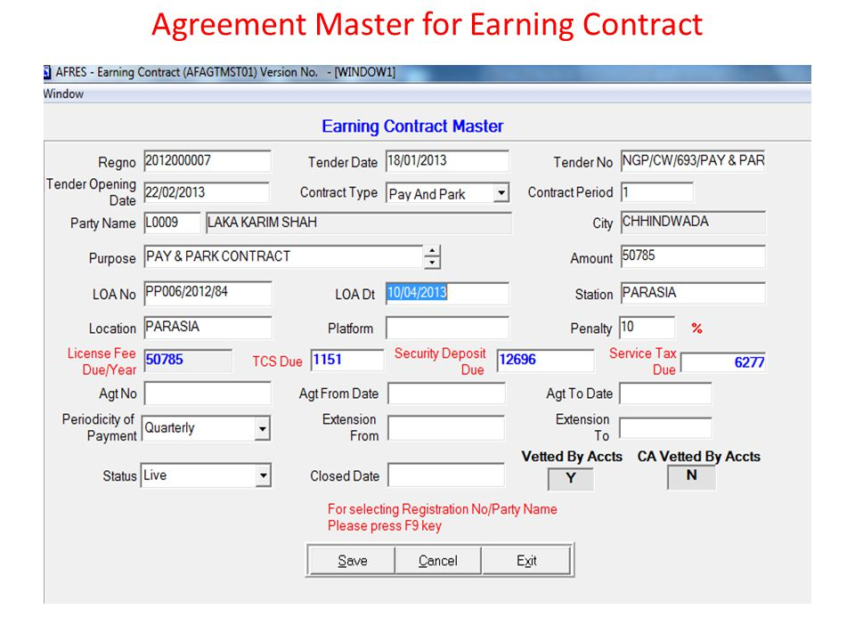 Agreement Master for Earning Contract