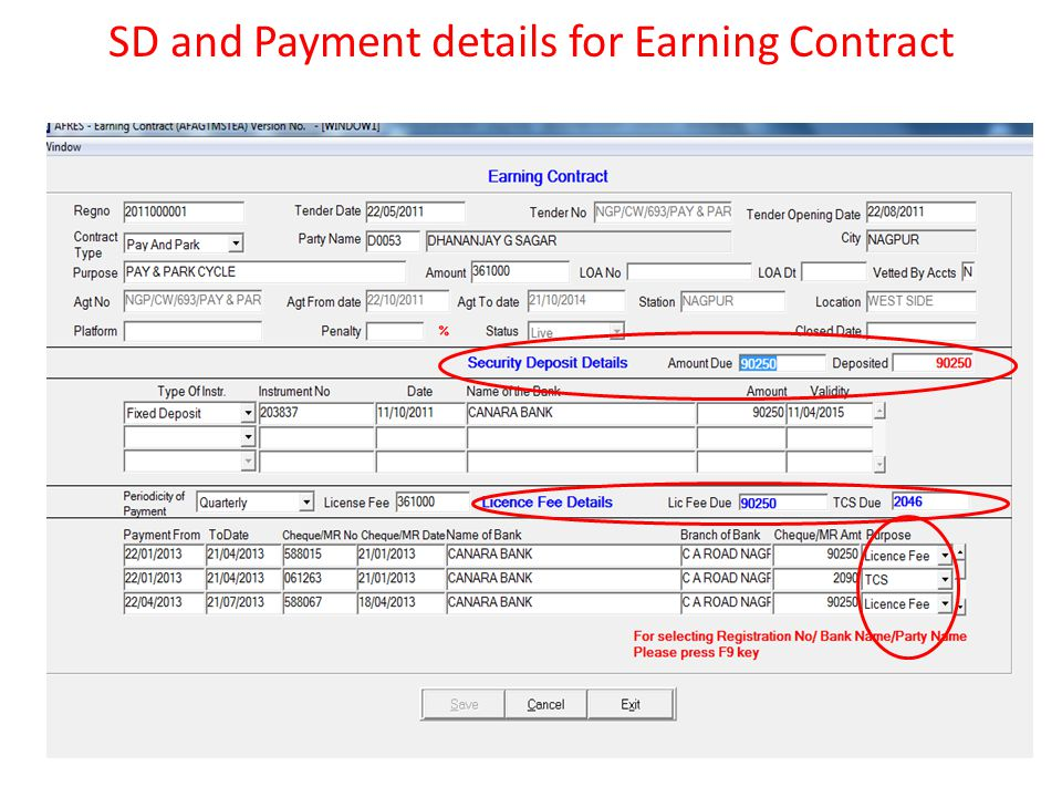 SD and Payment details for Earning Contract