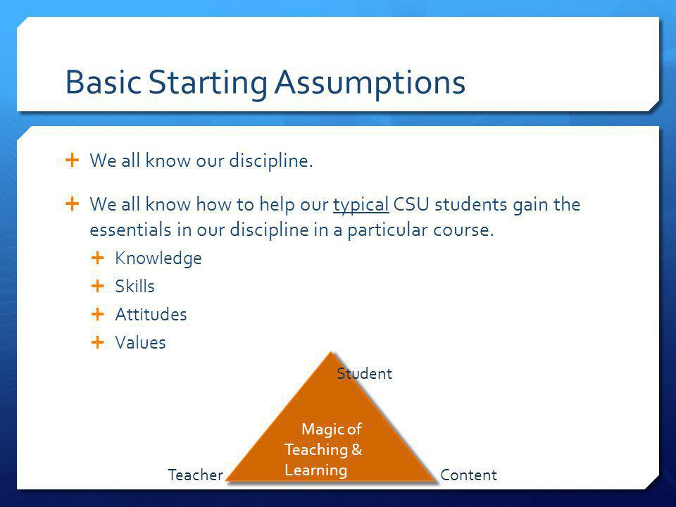 Basic Starting Assumptions We all know our discipline.