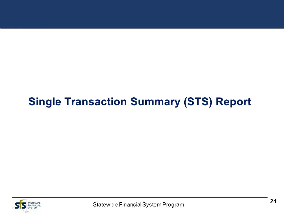 Statewide Financial System Program 24 Single Transaction Summary (STS) Report