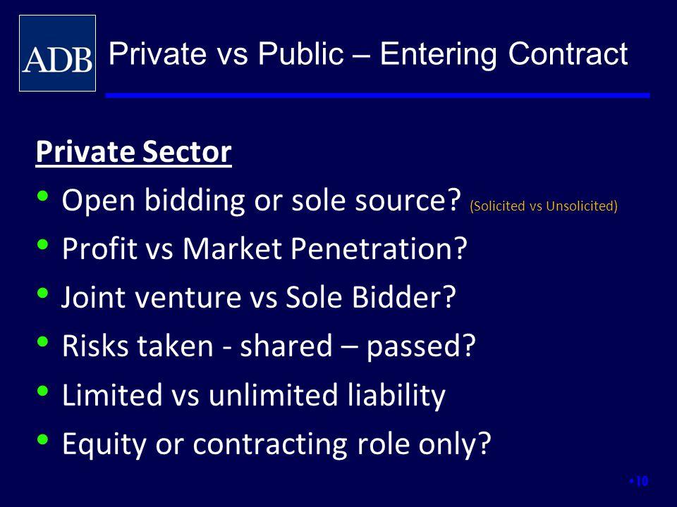 Private Sector Open bidding or sole source? (Solicited vs Unsolicited) Profit vs Market Penetration? Joint venture vs Sole Bidder? Risks taken - share