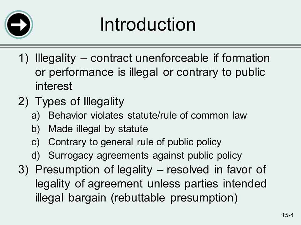 15-4 Introduction 1)Illegality – contract unenforceable if formation or performance is illegal or contrary to public interest 2)Types of Illegality a)Behavior violates statute/rule of common law b)Made illegal by statute c)Contrary to general rule of public policy d)Surrogacy agreements against public policy 3)Presumption of legality – resolved in favor of legality of agreement unless parties intended illegal bargain (rebuttable presumption)