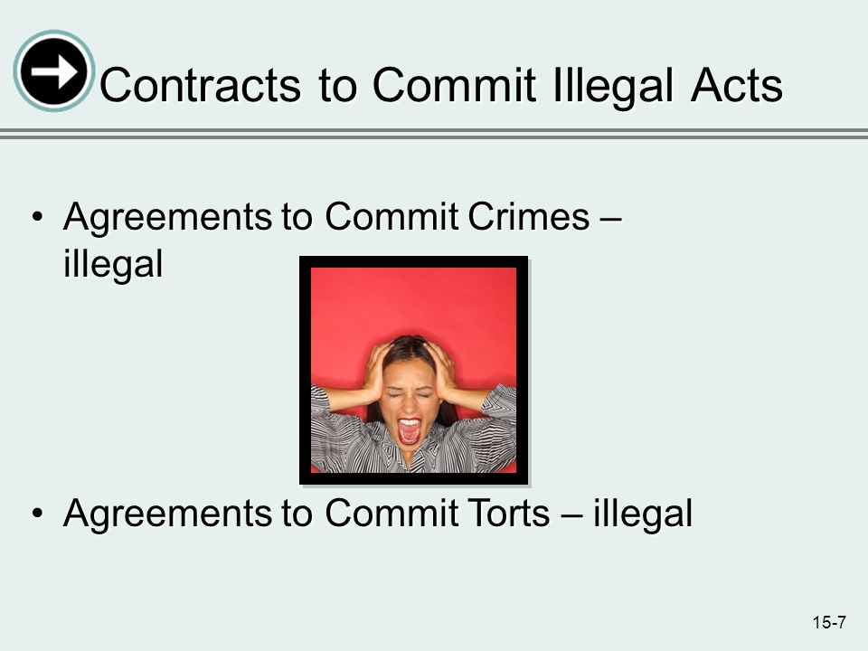 15-7 Contracts to Commit Illegal Acts Agreements to Commit Crimes – illegalAgreements to Commit Crimes – illegal Agreements to Commit Torts – illegalAgreements to Commit Torts – illegal