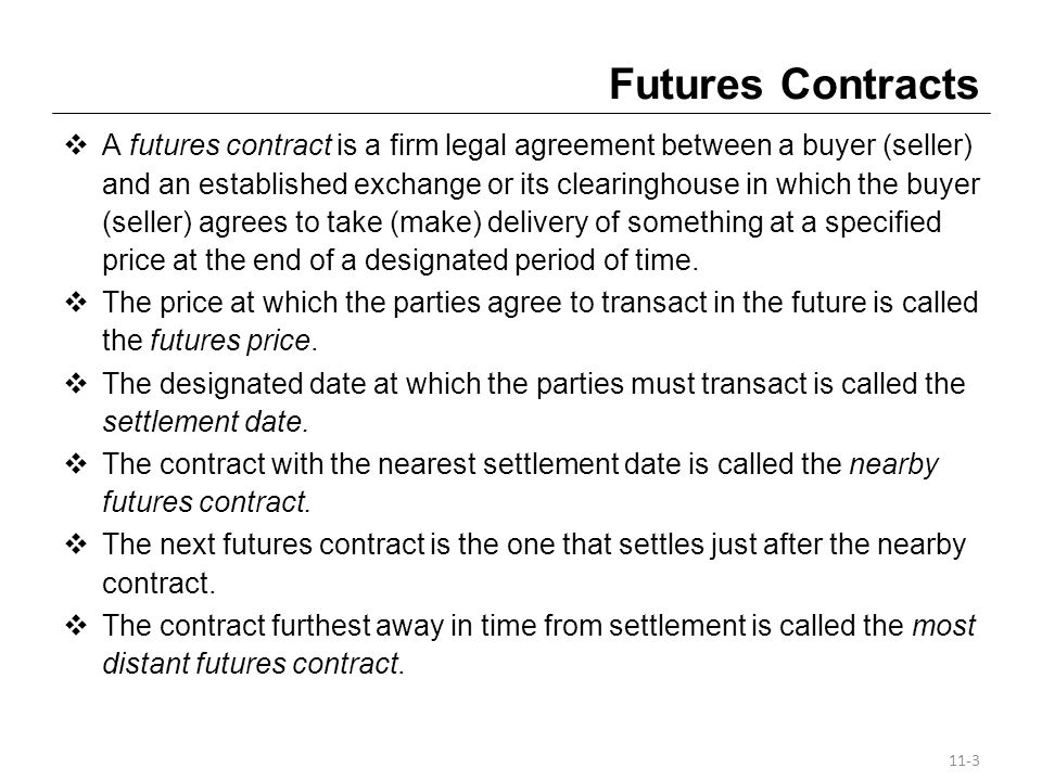 Forward Contracts Just like a futures contract, a forward contract is an agreement for the future delivery of the underlying at a specified price at the end of a designated period of time.