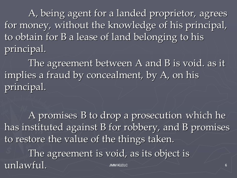 JMM KLELC6 A, being agent for a landed proprietor, agrees for money, without the knowledge of his principal, to obtain for B a lease of land belonging to his principal.