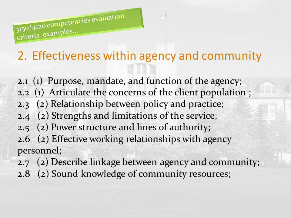 2.Effectiveness within agency and community 2.1 (1) Purpose, mandate, and function of the agency; 2.2 (1) Articulate the concerns of the client popula