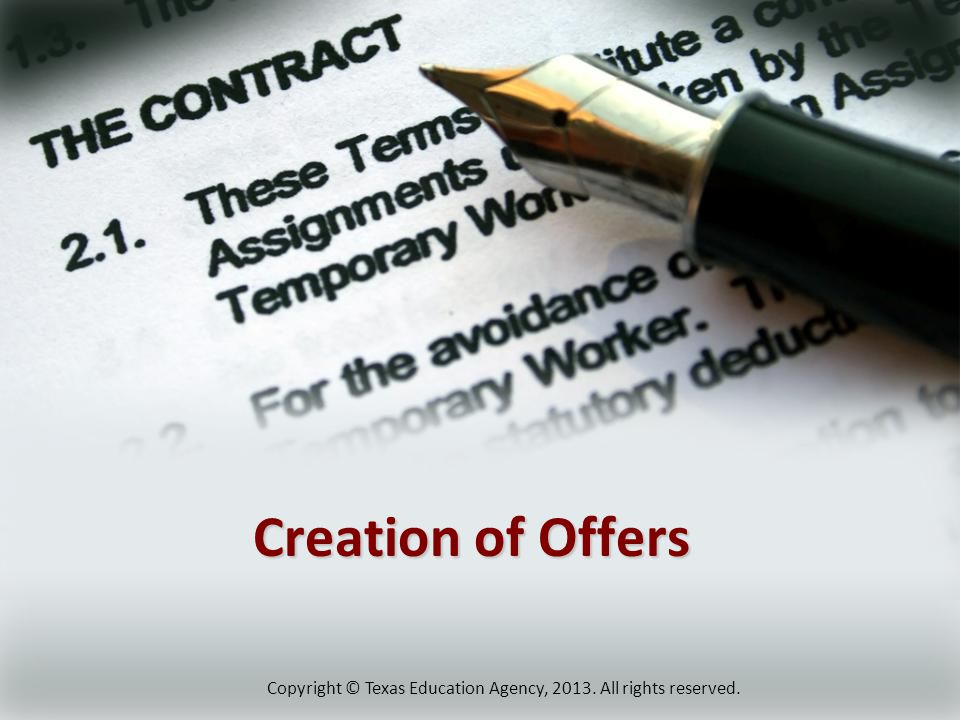 Creation of Offers Copyright © Texas Education Agency, All rights reserved.
