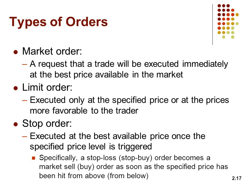Types of Orders Market order: –A request that a trade will be executed immediately at the best price available in the market Limit order: –Executed only at the specified price or at the prices more favorable to the trader Stop order: –Executed at the best available price once the specified price level is triggered Specifically, a stop-loss (stop-buy) order becomes a market sell (buy) order as soon as the specified price has been hit from above (from below) 2.17