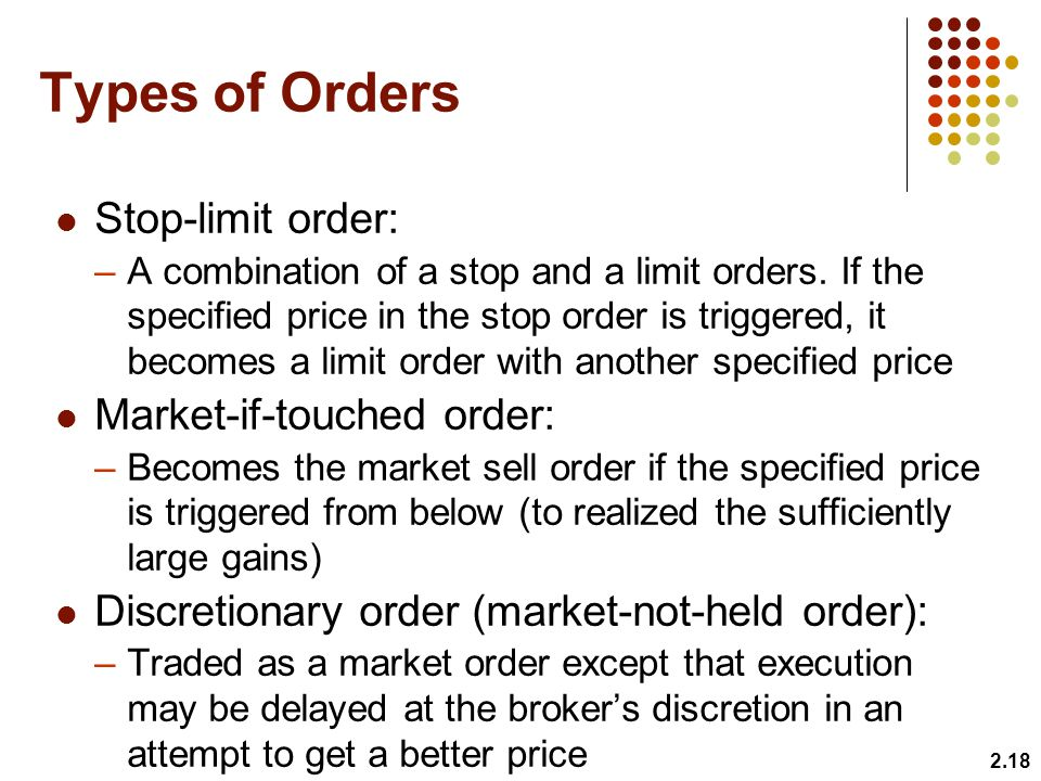 Types of Orders Stop-limit order: –A combination of a stop and a limit orders.