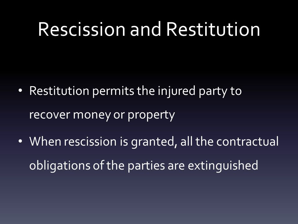 Types of Money Damages Compensatory: seeks to place injured parties in the same financial position they would have been in if there was no breach Consequential: the court tries to place injured parties in the same financial position they would have been in if the contract was performed