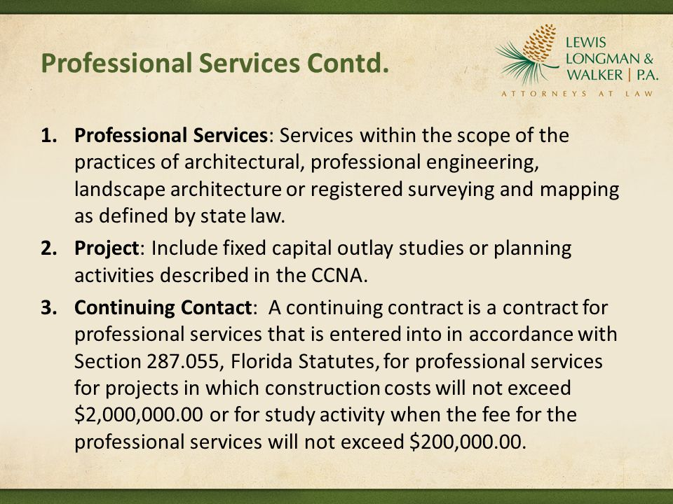 Professional Services Contd.