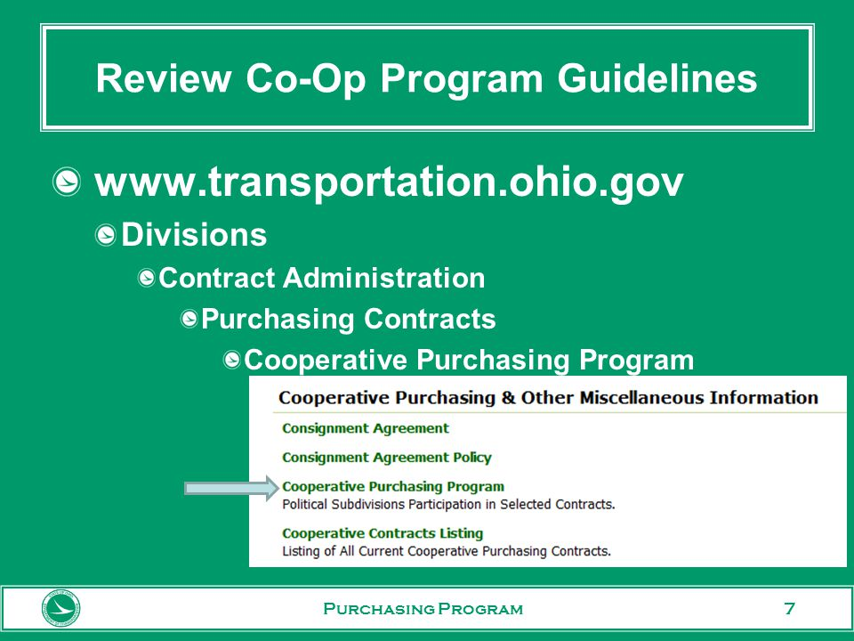 7 Review Co-Op Program Guidelines   Divisions Contract Administration Purchasing Contracts Cooperative Purchasing Program Purchasing Program