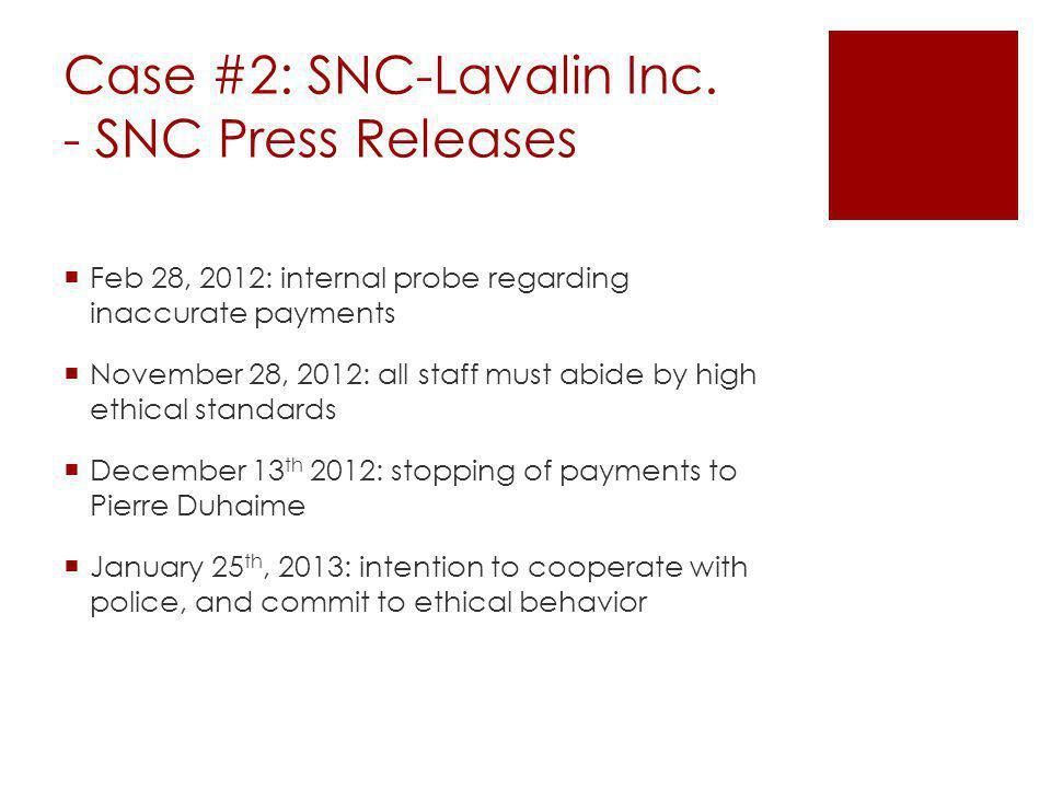 Case #2: SNC-Lavalin Inc.