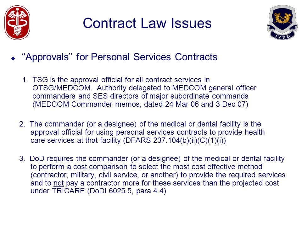 Contract Law Issues Approvals for Personal Services Contracts 1.