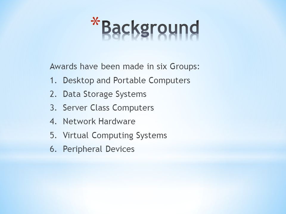 Awards have been made in six Groups: 1. Desktop and Portable Computers 2.
