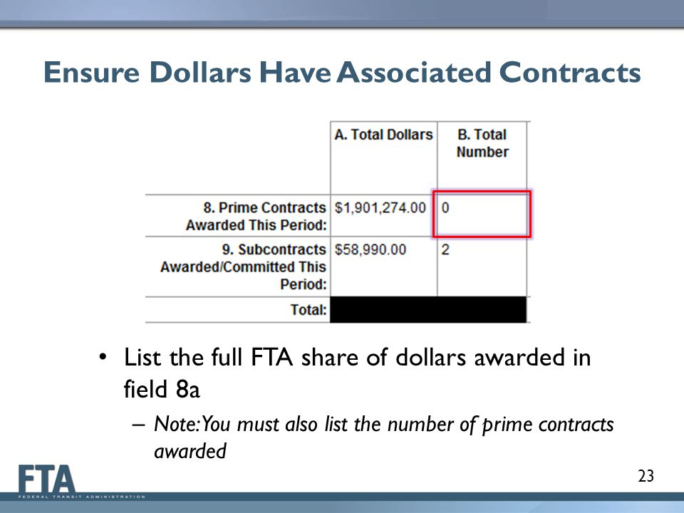 Ensure Dollars Have Associated Contracts List the full FTA share of dollars awarded in field 8a – Note: You must also list the number of prime contracts awarded 23