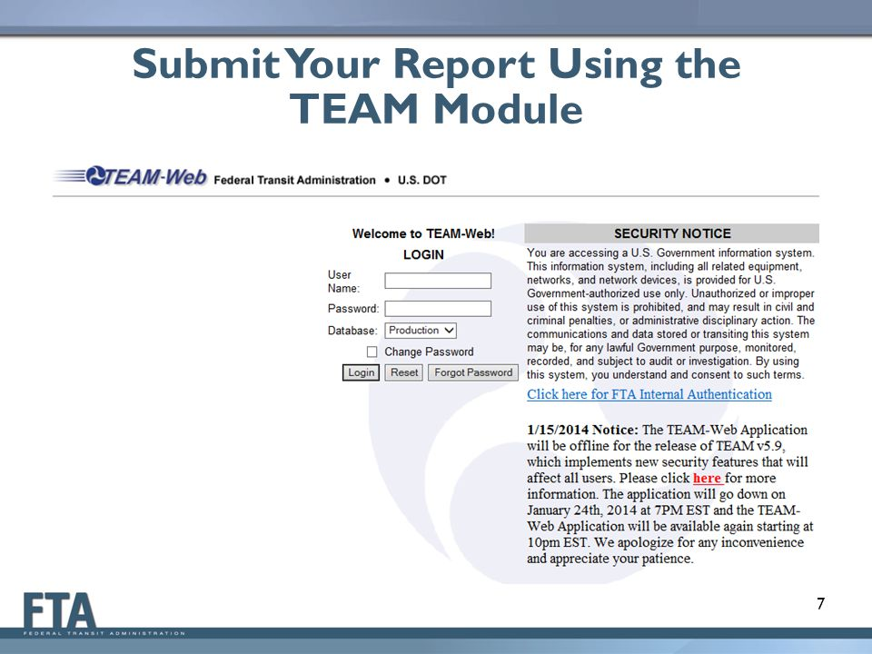 Submit Your Report Using the TEAM Module 7