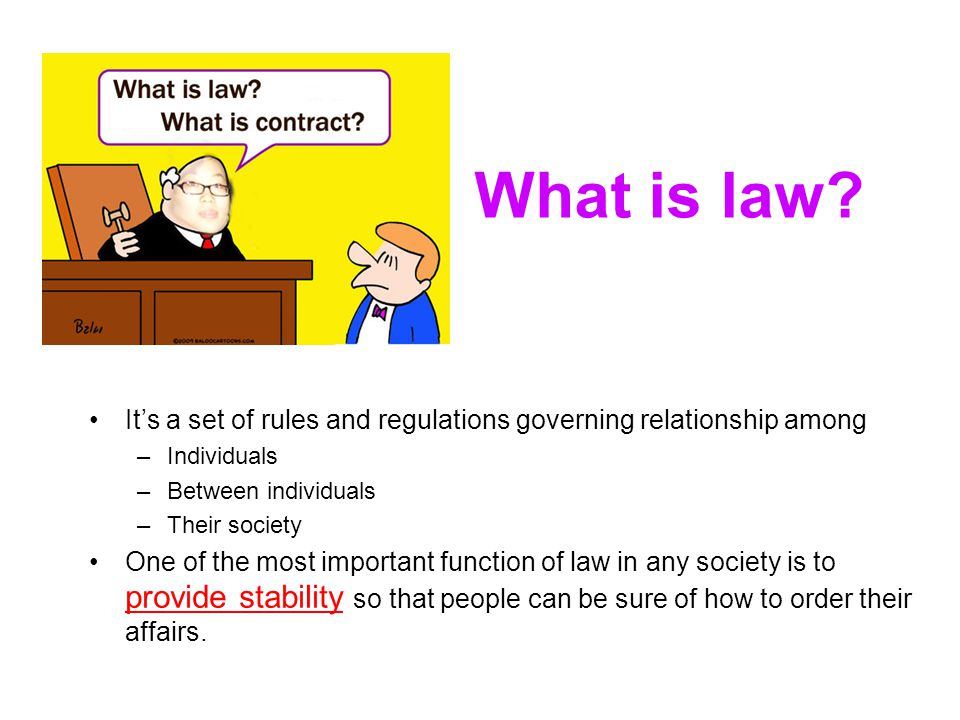 What is law? Its a set of rules and regulations governing relationship among –Individuals –Between individuals –Their society One of the most importan
