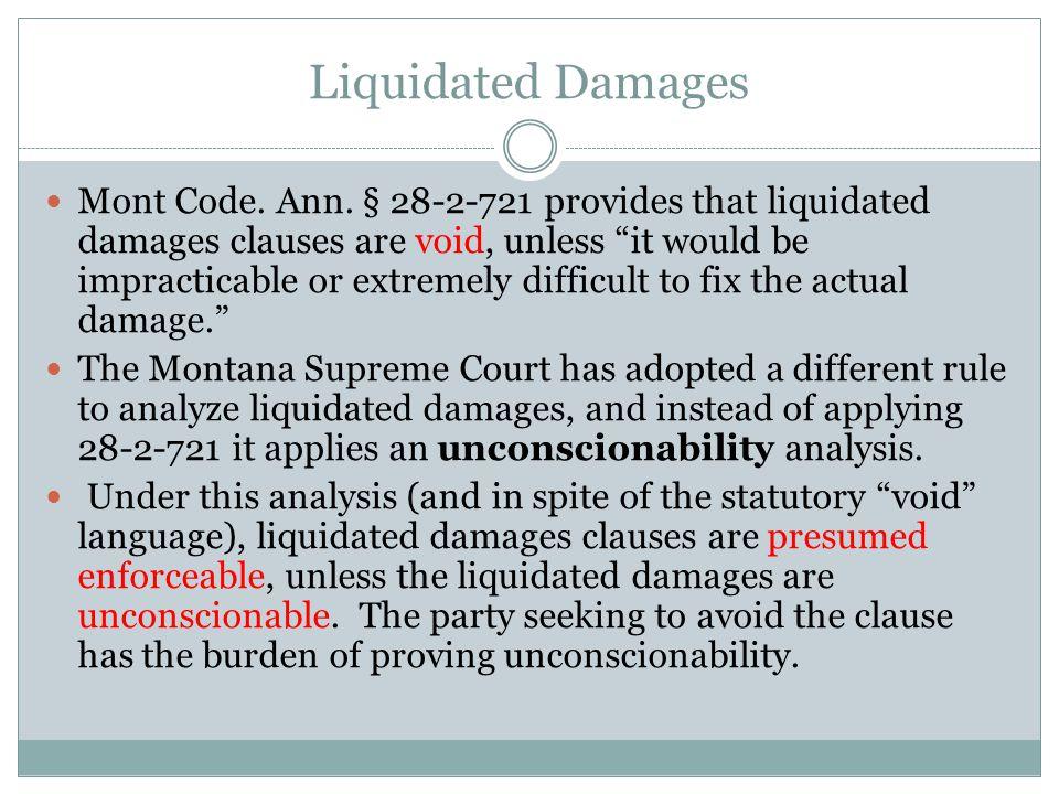 Liquidated Damages Mont Code. Ann.