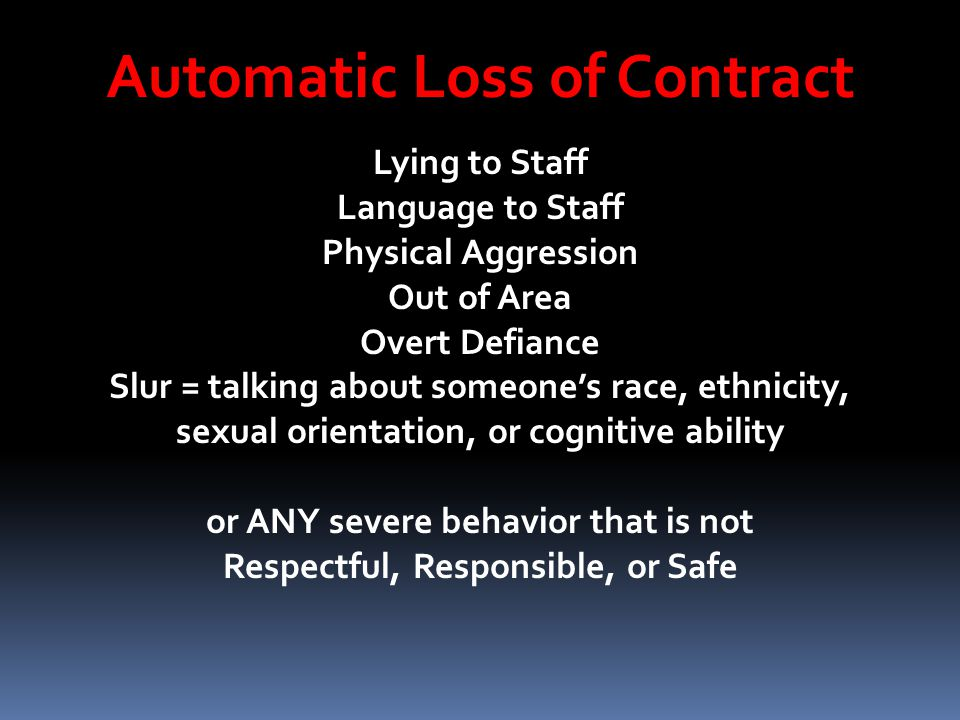 Automatic Loss of Contract Lying to Staff Language to Staff Physical Aggression Out of Area Overt Defiance Slur = talking about someones race, ethnici