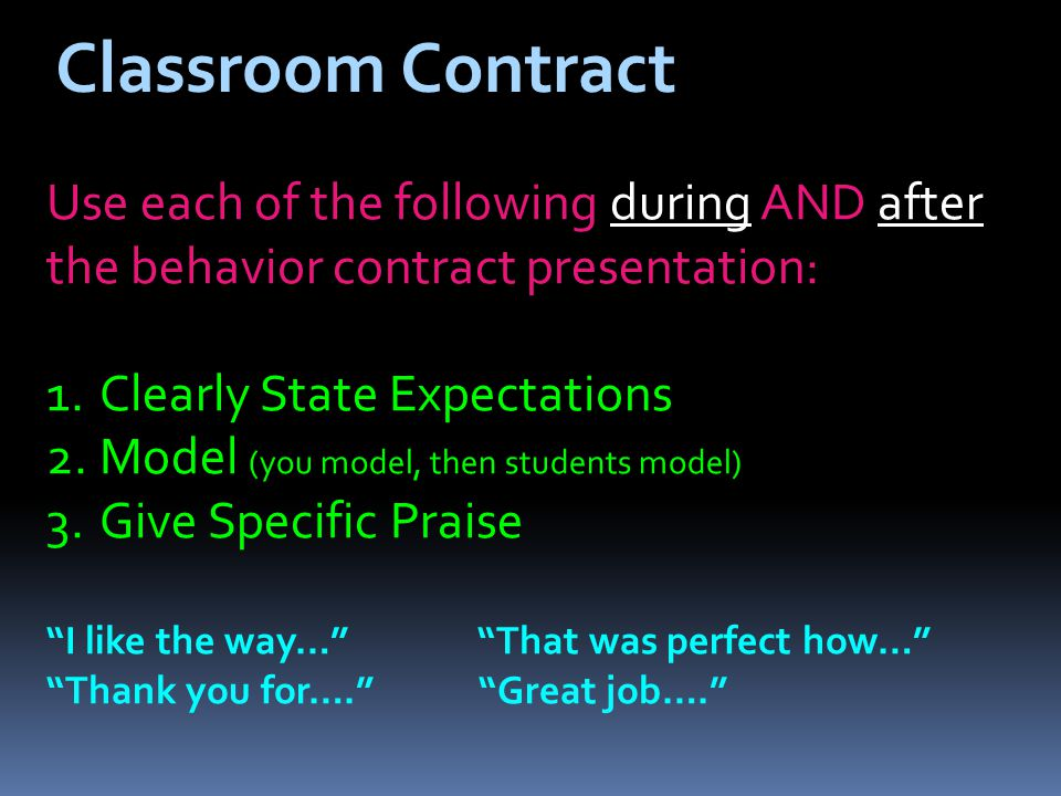 Classroom Contract Use each of the following during AND after the behavior contract presentation: 1.Clearly State Expectations 2.Model (you model, then students model) 3.Give Specific Praise I like the way… That was perfect how… Thank you for….